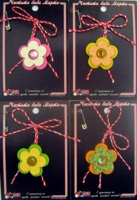 Мартеници цвете цветно филц 10 броя