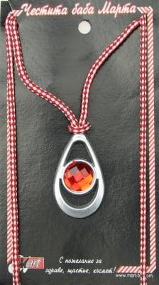 Мартеници гердан пластмаса с кристал 10 броя