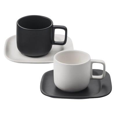 Комплект керамични чаши 2бр. с чинийки 2бр.