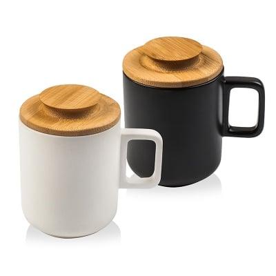 Комплект чаши с дървени капачета