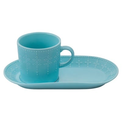 Светло синя чаша с десертна чиния