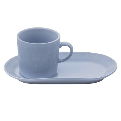 Сива чаша с десертна чиния