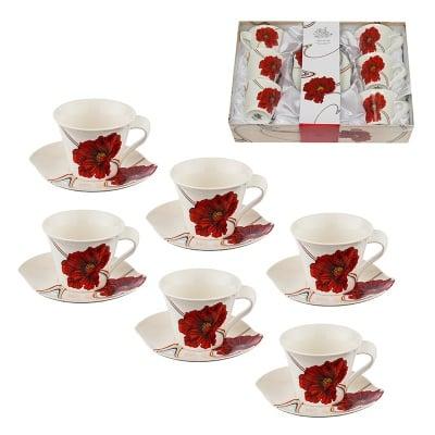 МАКОВЕ комплект за кафе 6 чаши + 6 чинийки