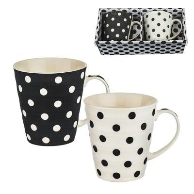 Стилен комплект от две чаши за кафе или чай с точки