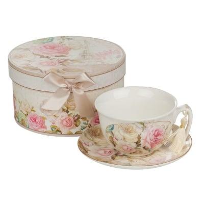 Роза айфел чаша+чинийка