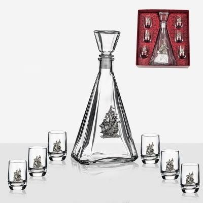 Сет бутилка Кораб +6 чаши за ракия