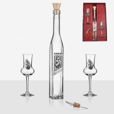 Бутилка+2 чаши за вино
