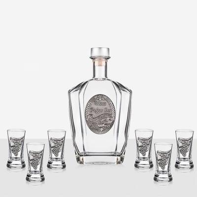 Сет 6 чаши+ бутилка Честит рожден ден