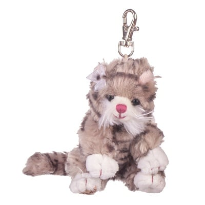 Плюшенa играчка-ключодържател кафяво котенце