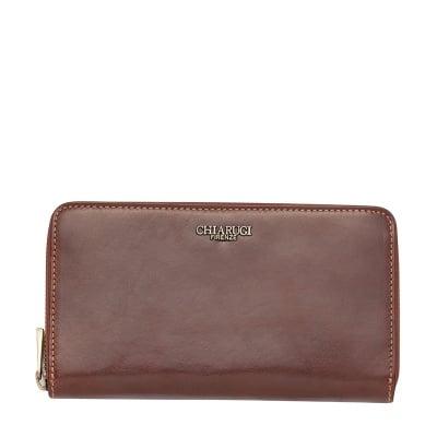 Кафяво дамско портмоне с цип CHIARUGI