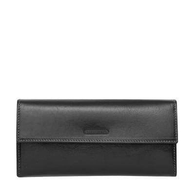 Черно портмоне от естествена кожа CHIARUGI