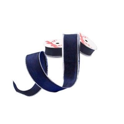 Лента синьо сребрист кант 25мм. - цена на едро