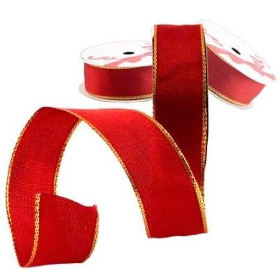 Лента червено златен кант 25мм. - цена на едро