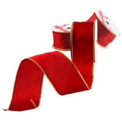 Лента червено златен кант 35мм. - цена на едро