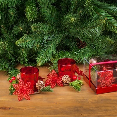 Коледени свещници + свещи червени