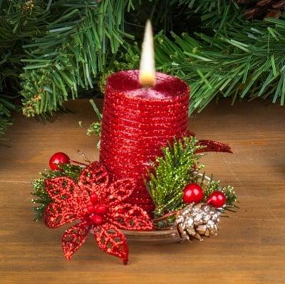 Коледна свещ червена