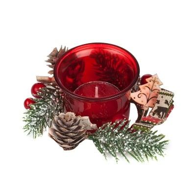 Коледен червен свещник + свещ