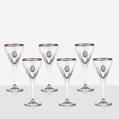 Fusion 6 чаши за вино, сребърна плочка