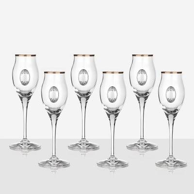 Invino 6 чаши за ракия, сребърна плочка