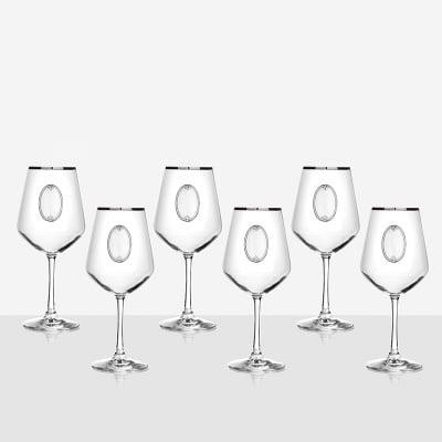 Universum 6 чаши за вино, сребърна плочка