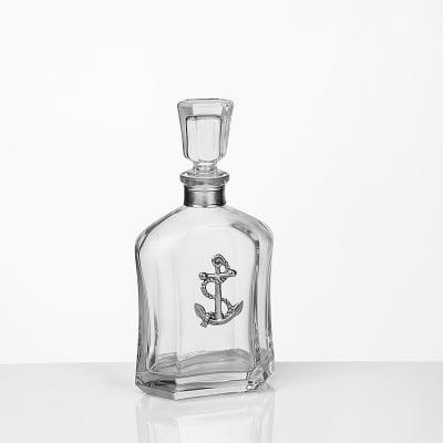 Стъклена бутилка за уиски с котва