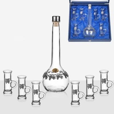 Сет бутилка+6 чаши с дръжка