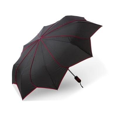 Дамски чадър PIERRE CARDIN черен с червени кантове
