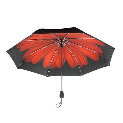 Дамски чадър с червено цвете - PIERRE CARDIN