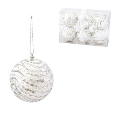 Коледна топка бяла 8 см.