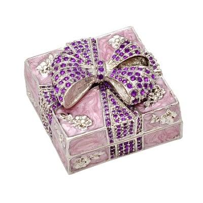 Кутия за бижута панделка розова