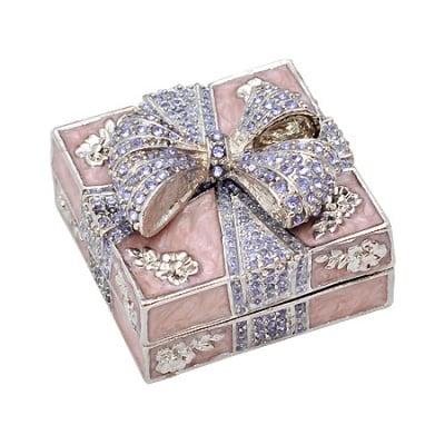 Кутия за бижута панделка пурпур