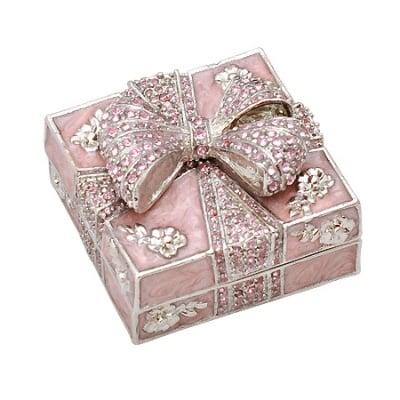 Кутия за бижута панделка светла