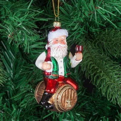 Стъклена играчка Дядо Коледа с буренце