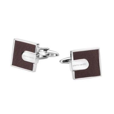 Копчета за ръкавели PIERRE CARDIN квадратни със сребърно и кафяво