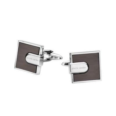 Копчета за ръкавели PIERRE CARDIN квадратни кафяво със сребърно