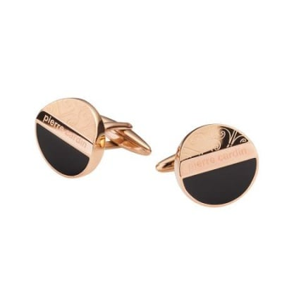Копчета за ръкавели PIERRE CARDIN черно с розово злато
