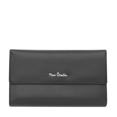 Дамско черно портмоне с мат пачола PIERRE CARDIN