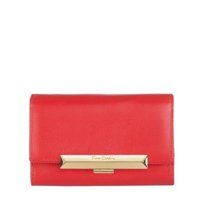 Дамско портмоне PIERRE CARDIN червено със златен надпис