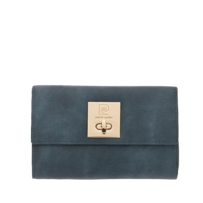 Дамско портмоне цвят синьо с механизъм PIERRE CARDIN
