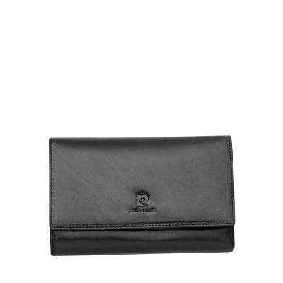 Дамско черно портмоне, гладка кожа PIERRE CARDIN