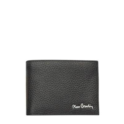 Мъжки черен портфейл, едър шагрен PIERRE CARDIN