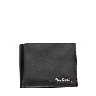 Мъжки черен портфейл, гладка кожа PIERRE CARDIN