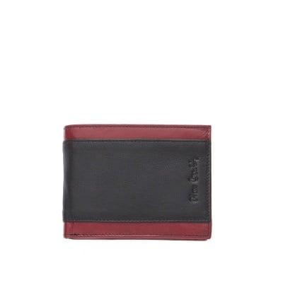 Мъжко портмоне от естествена кожа с червени линии - PIERRE CARDIN