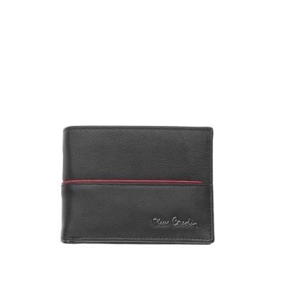 Мъжки портфейл от естествена кожа с червена черта - PIERRRE CARDIN
