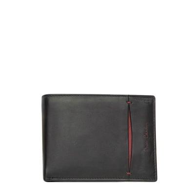 Мъжки черен портфейл PIERRE CARDIN -  с вертикална червена черта