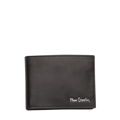 Мъжки портфейл черен мат -  естествена кожа PIERRE CARDIN