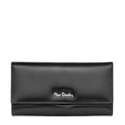 Дамско портмоне PIERRE CARDIN черно с гладка повърхност
