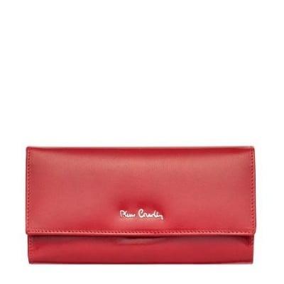 Дамско портмоне PIERRE CARDIN гладка естествена кожа червенo
