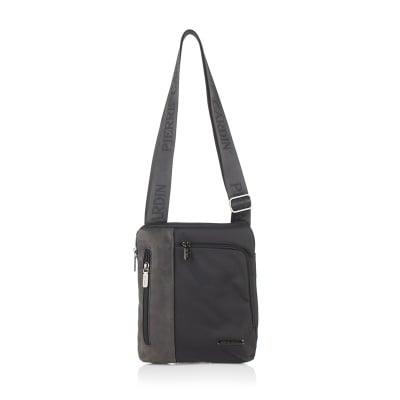 Мъжка черна чанта плат и еко кожа PIERRE CARDIN