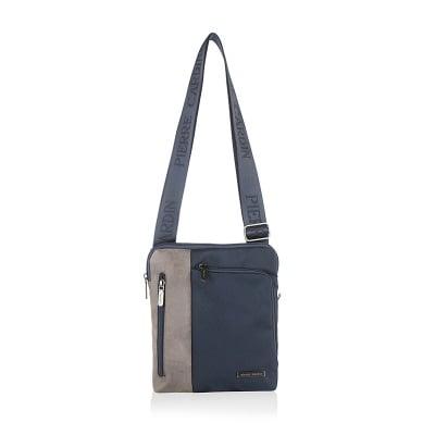 Мъжка чанта еко кожа и плат, синьо и сиво PIERRE CARDIN